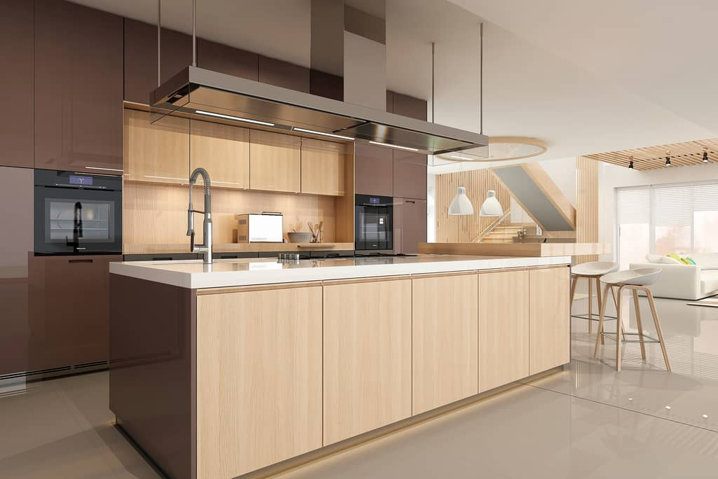 modern kitchen with tan wood cabinets